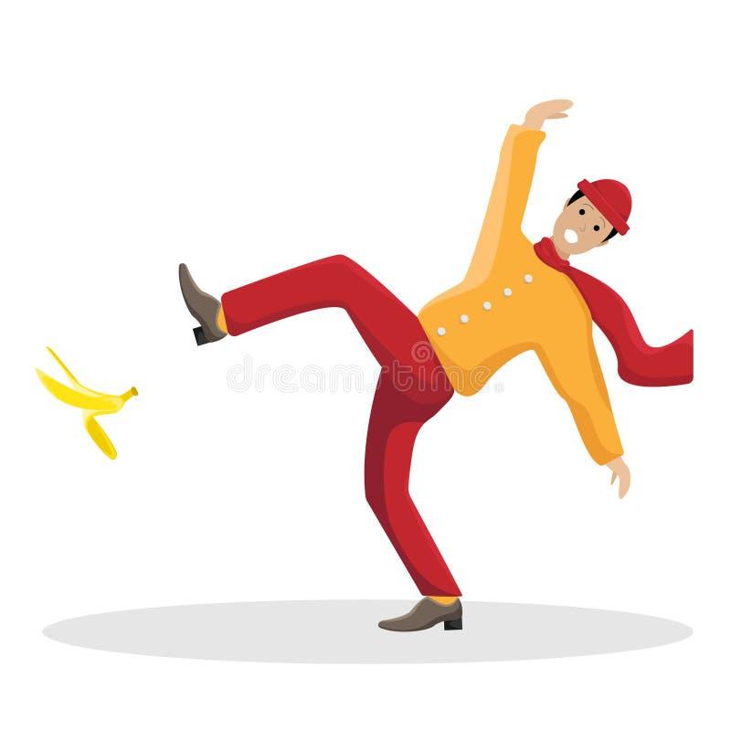 Isolerad vektorlägenhetillustration med en halkad man på en banan vektor illustrationer