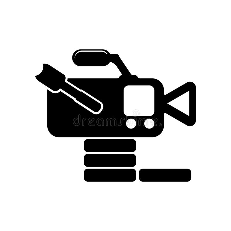 Isolerad videokamera från tecken och symbol för vektor för symbol för sidosikt stock illustrationer