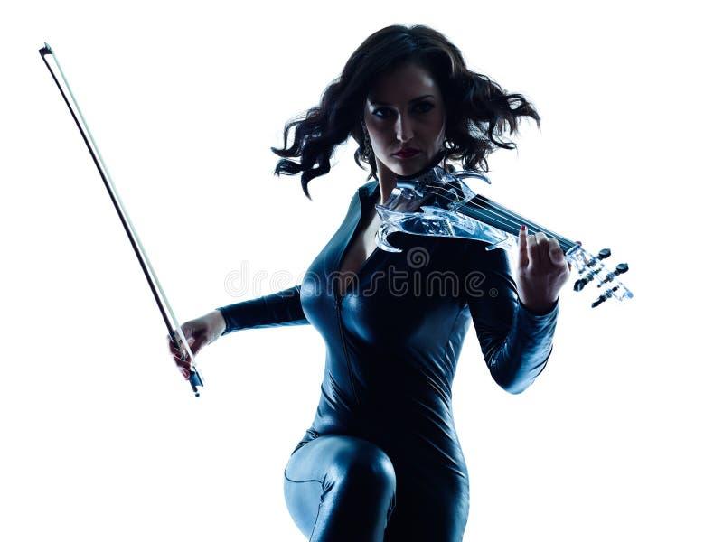Isolerad violinistkvinnaslihouette arkivfoto