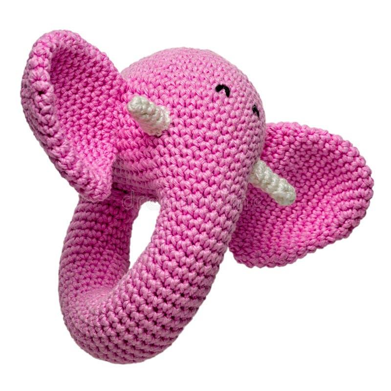 Isolerad virkad leksak för rosa elefant royaltyfri bild