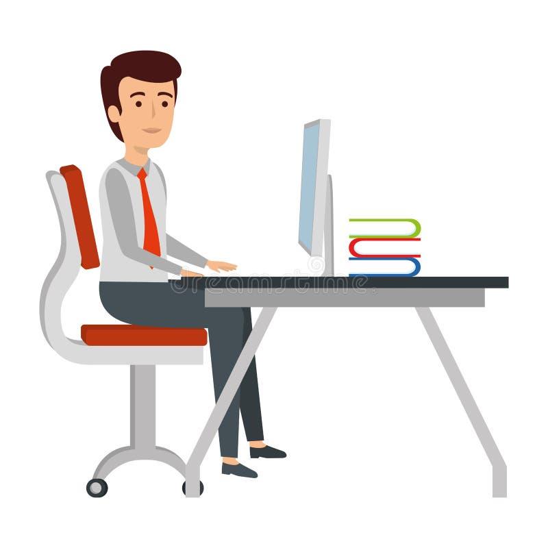 isolerad vit arbetsplats för bakgrund affärsman stock illustrationer
