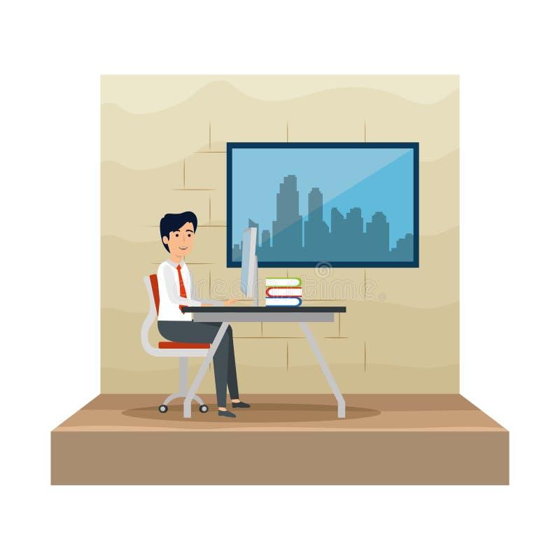 isolerad vit arbetsplats för bakgrund affärsman vektor illustrationer
