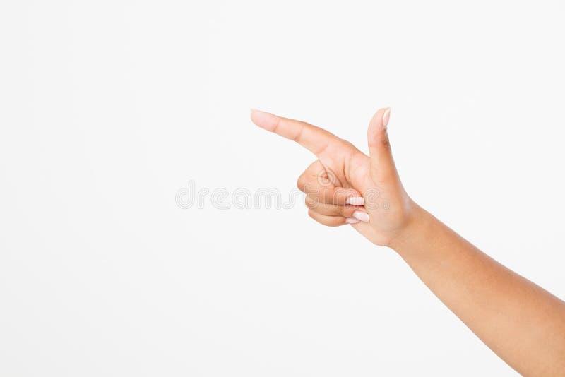 Isolerad vit bakgrund för finger punkt afro amerikansk hand Åtlöje upp kopiera avstånd mall _ royaltyfria foton