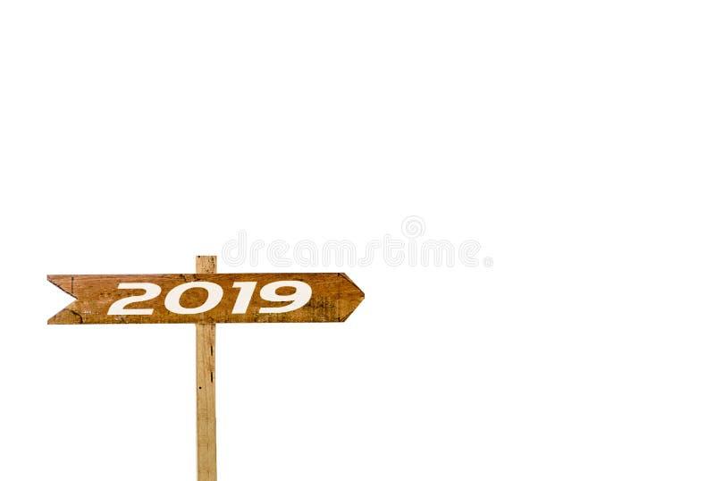 Isolerad vit bakgrund för teckenbaner 2019 arkivfoton