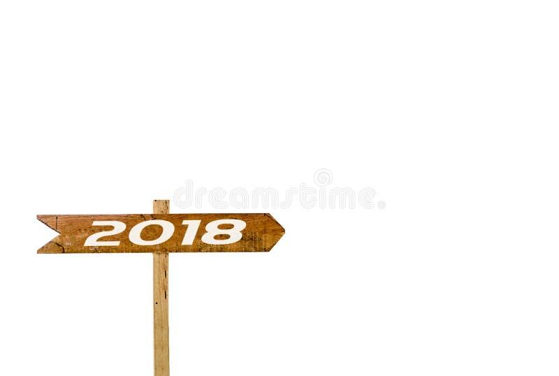Isolerad vit bakgrund för teckenbaner 2018 royaltyfri bild