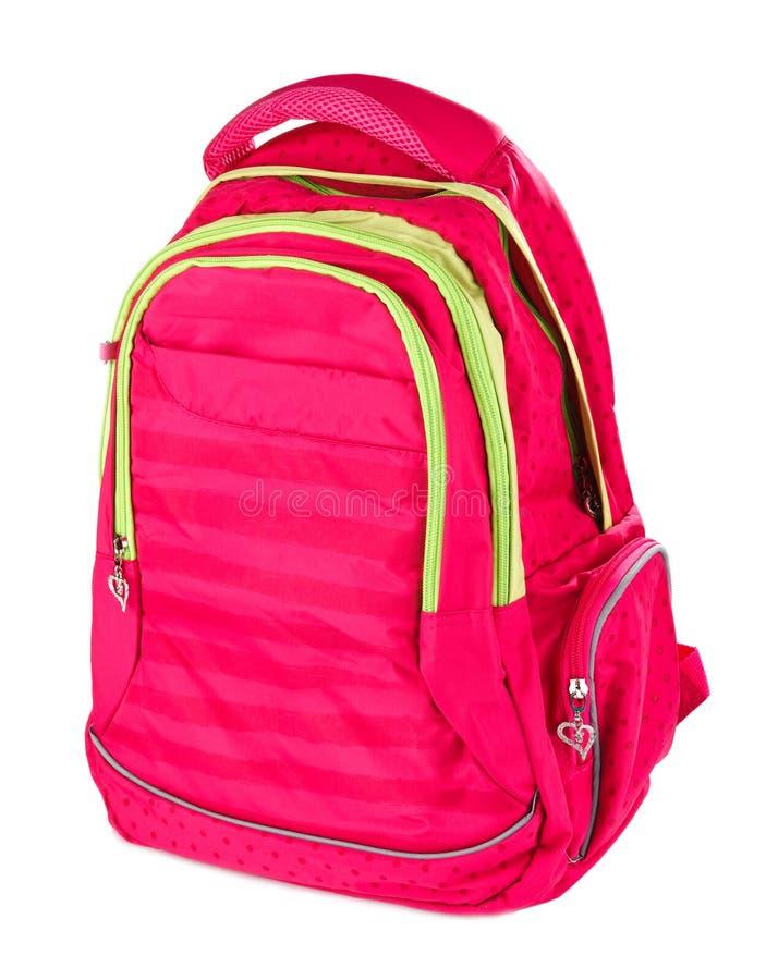 Isolerad vit för rosa färgskola ryggsäck royaltyfria foton