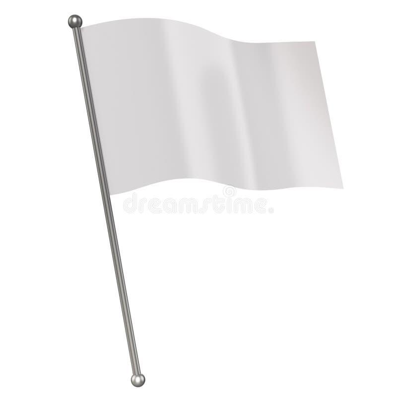Isolerad vit flagga royaltyfri illustrationer