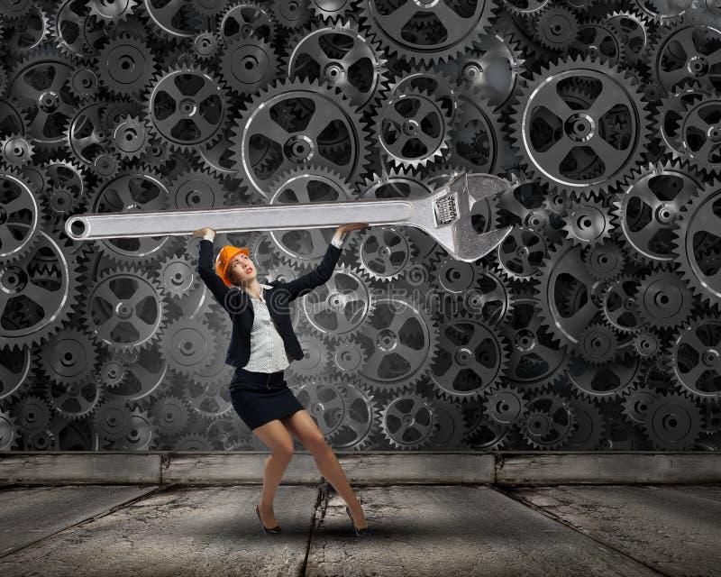 isolerad vit kvinna för bacground tekniker arkivfoto