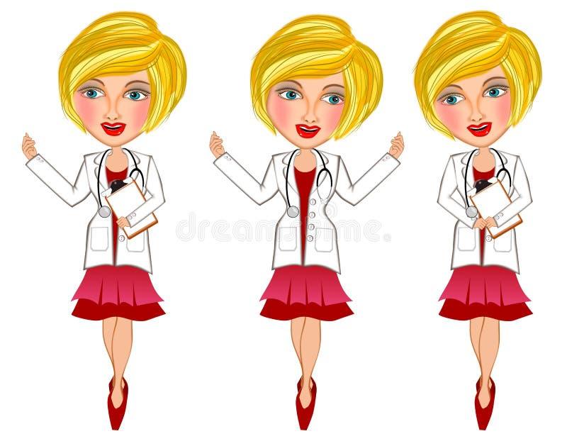 isolerad vit kvinna f?r bakgrund doktor stock illustrationer