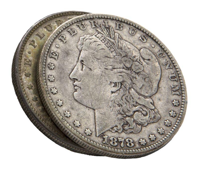 Isolerad vit 1878 Morgan för silverdollar fotografering för bildbyråer