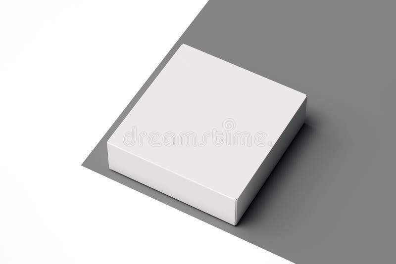 Isolerad vit realistisk kartong på monokrom bakgrund framförande 3d vektor illustrationer