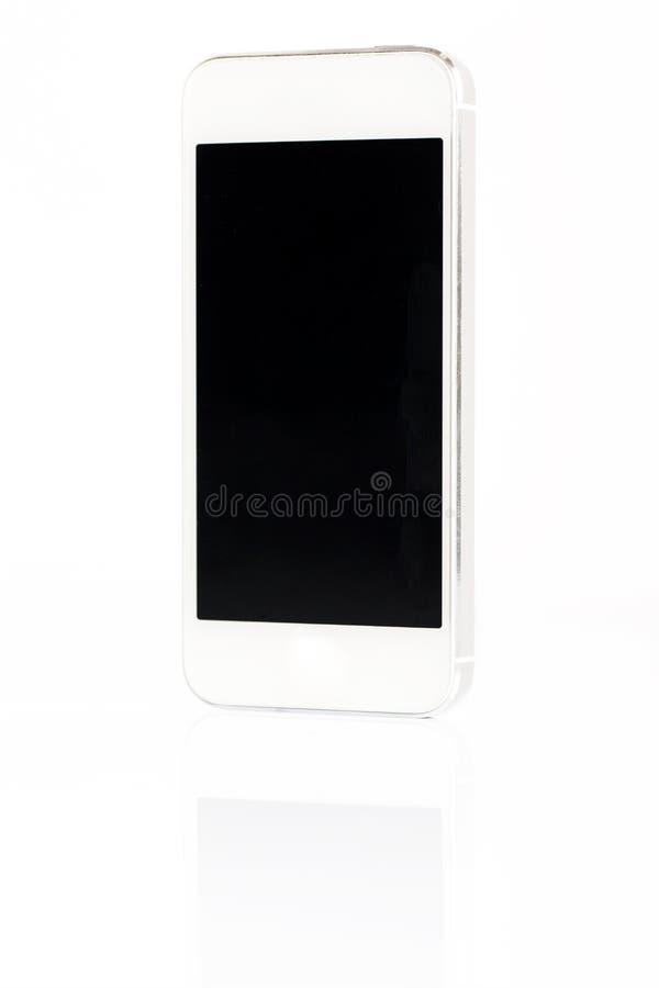 Isolerad vit smartphone royaltyfri bild