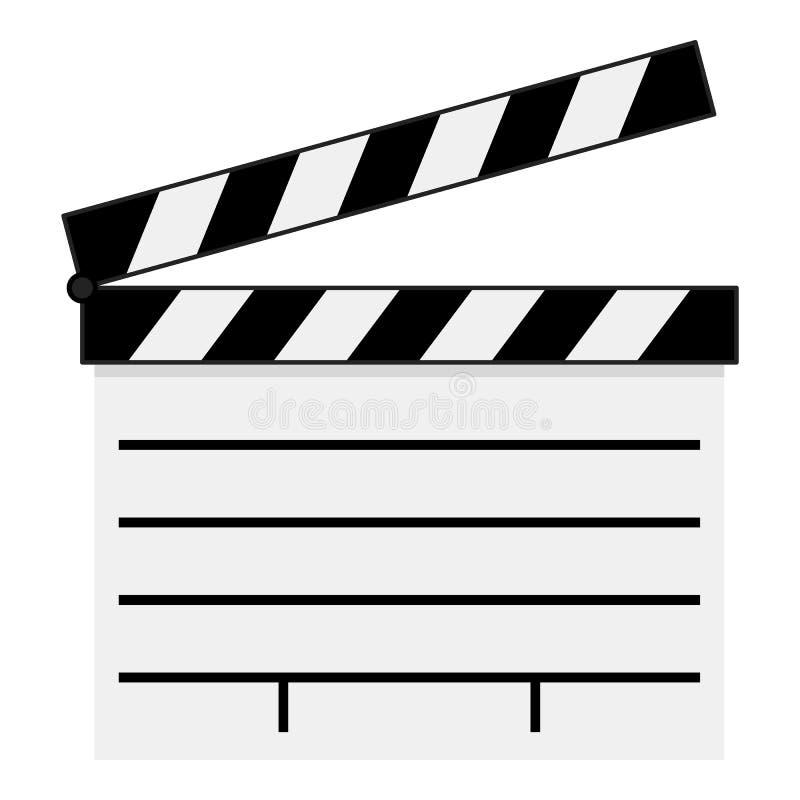Isolerad vit symbol för filmpanelbrädalägenhet vektor illustrationer