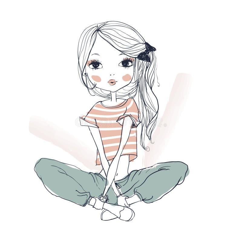 isolerad vit yoga för bakgrund flicka stock illustrationer