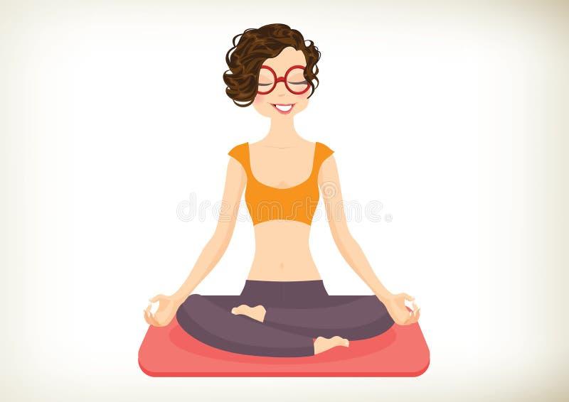isolerad vit yoga för bakgrund flicka royaltyfri illustrationer