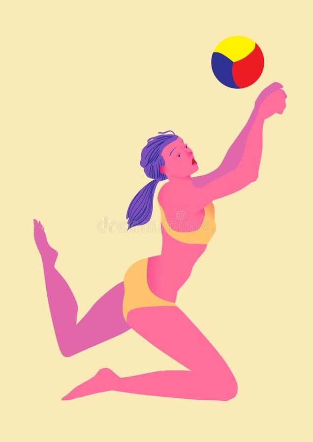 isolerad volleybollwhite för bakgrund strand Flickan i bikini går en boll tillbaka Bild av folk som isoleras på en gul bakgrund o stock illustrationer