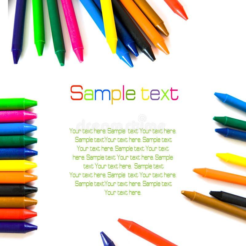 isolerad wax för färg crayons arkivfoto