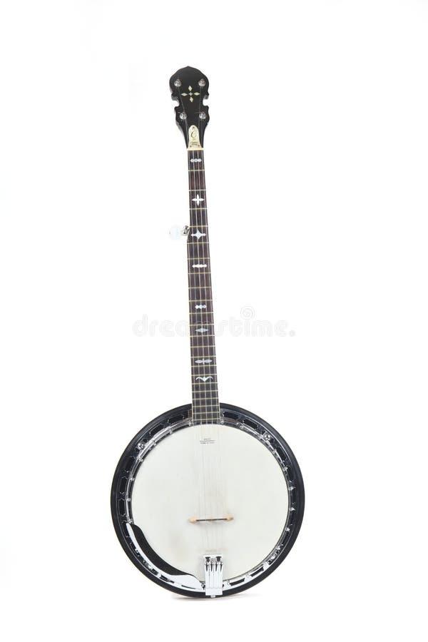isolerad white för bakgrund banjo arkivbild