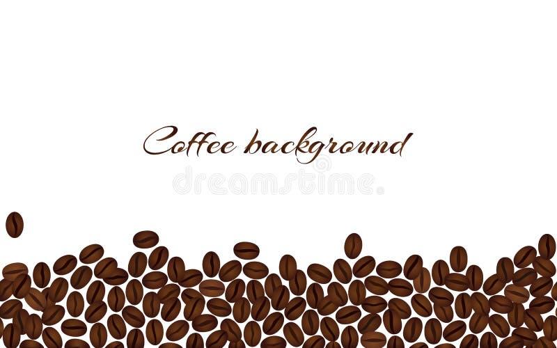 isolerad white för bakgrundsbönor kaffe Horisontalvektor b royaltyfri illustrationer