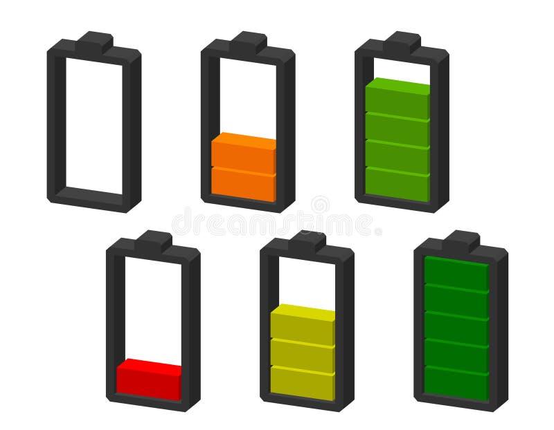 isolerad white för bakgrundsbatteri symbol Jämna indikatorer för laddning Dimetric projektion royaltyfri illustrationer