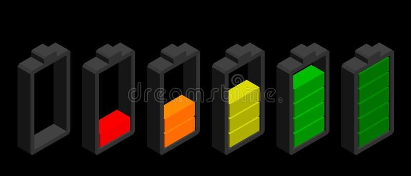 isolerad white för bakgrundsbatteri symbol Jämna indikatorer för laddning Isolerat på svart backgr stock illustrationer