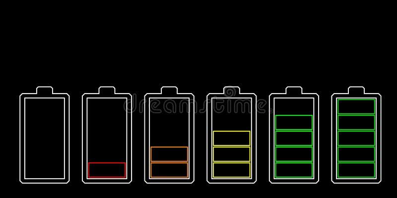 isolerad white för bakgrundsbatteri symbol Jämna indikatorer för laddning Vektoröversiktsillustration royaltyfri illustrationer