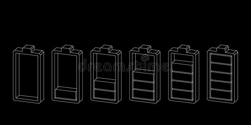 isolerad white för bakgrundsbatteri symbol Jämna indikatorer för laddning Vektoröversiktsillustration stock illustrationer