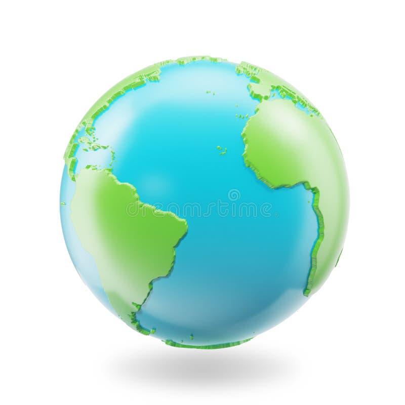 isolerad white för bakgrundsjord jordklot Symbol för jordklotplanetjord, 3D Rendring royaltyfri illustrationer