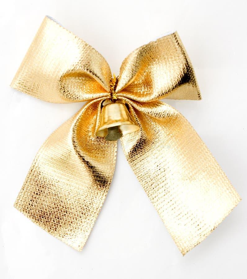 isolerad white för bow guld arkivfoto
