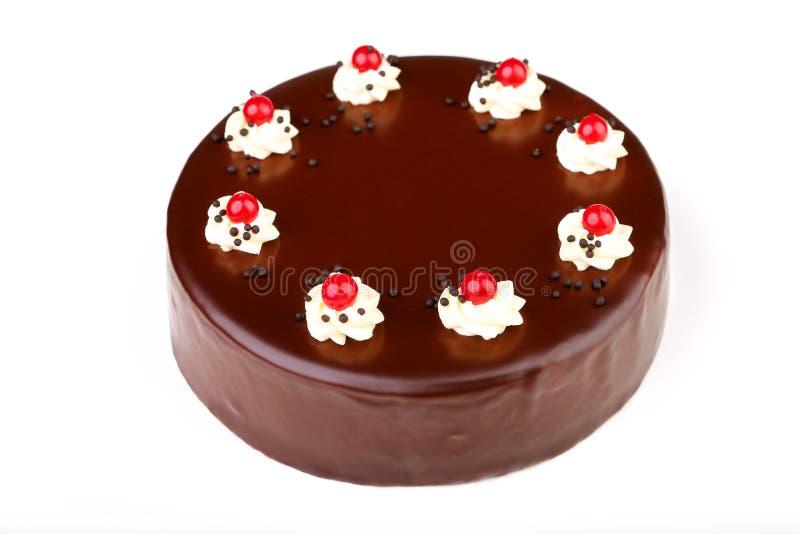isolerad white för cake choklad fotografering för bildbyråer