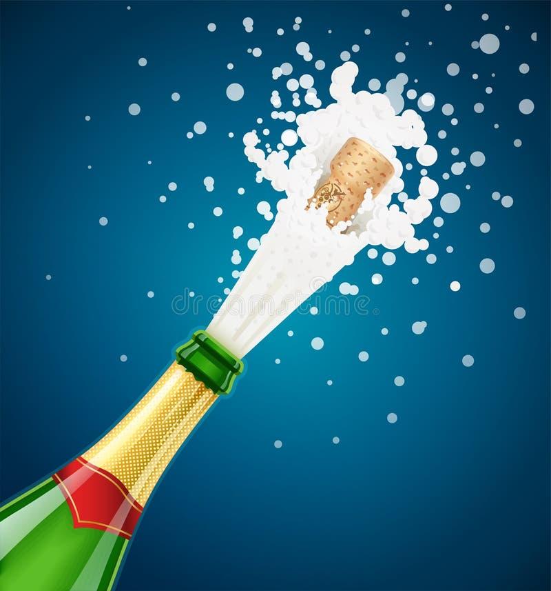 isolerad white för flaska champagne Explodera den traditionella franska alkoholdrinken stock illustrationer