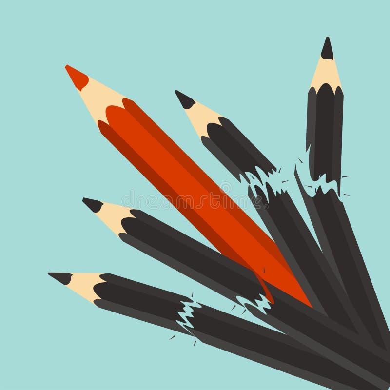 isolerad white för konkurrens begrepp ledarskap Röd blyertspenna och bruten svart penna stock illustrationer