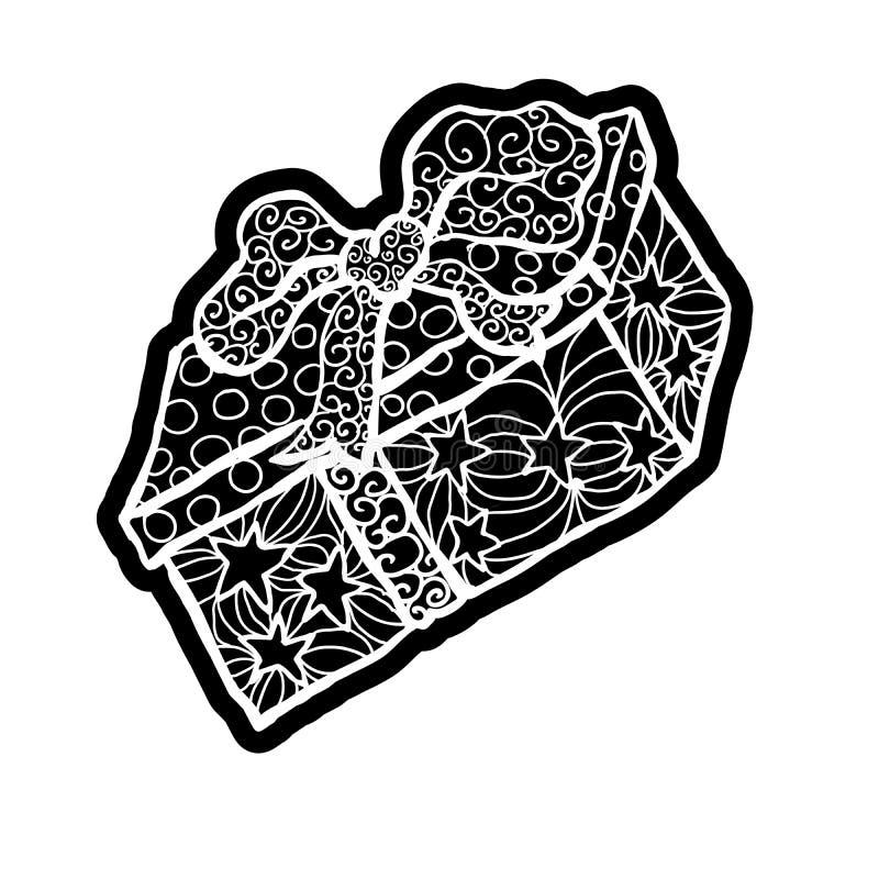 isolerad white f?r bakgrundsbowask g?va Knockout- utskrivande klistermärke, isolerad clipart vektor illustrationer