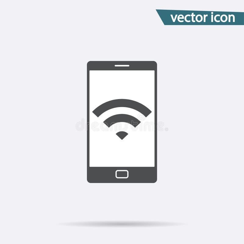 Isolerad WiFi zonsymbol Telefonvektor Logoillustration stock illustrationer