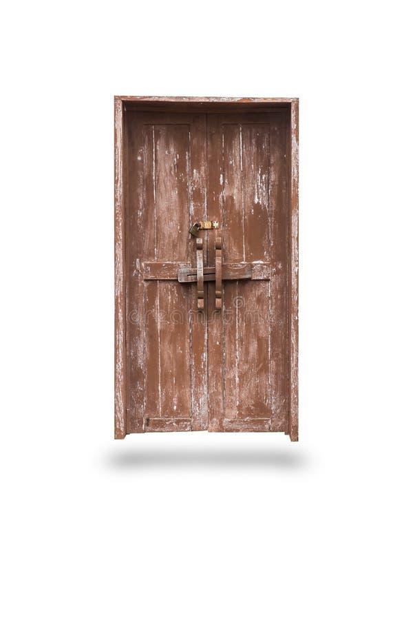 Isolerad wood dörr för gammalt lås arkivfoton