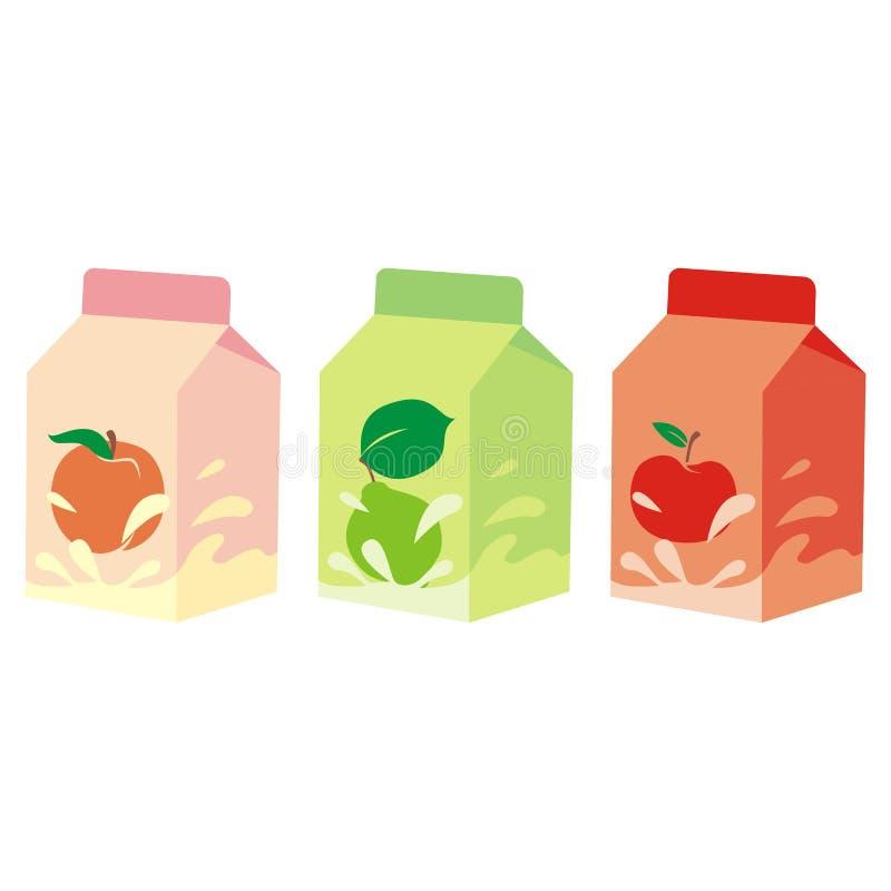 isolerad yoghurt för asklåda frukt royaltyfri illustrationer