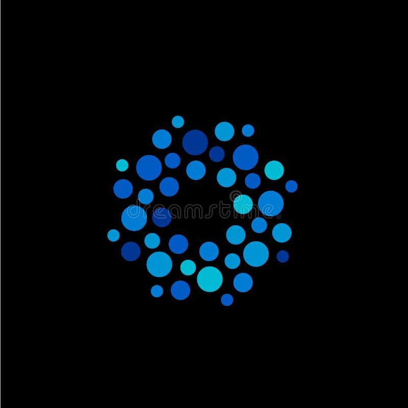 Isolerade abstrakta blått för rund form färgar logoen, den prickiga logotypen, illustration för vattenbeståndsdelvektor på svart  stock illustrationer