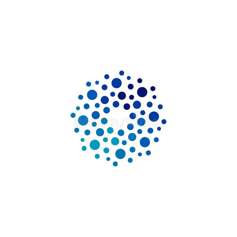 Isolerade abstrakta blått för rund form färgar logoen, den prickiga logotypen, illustration för vattenbeståndsdelvektor på vit ba royaltyfri illustrationer