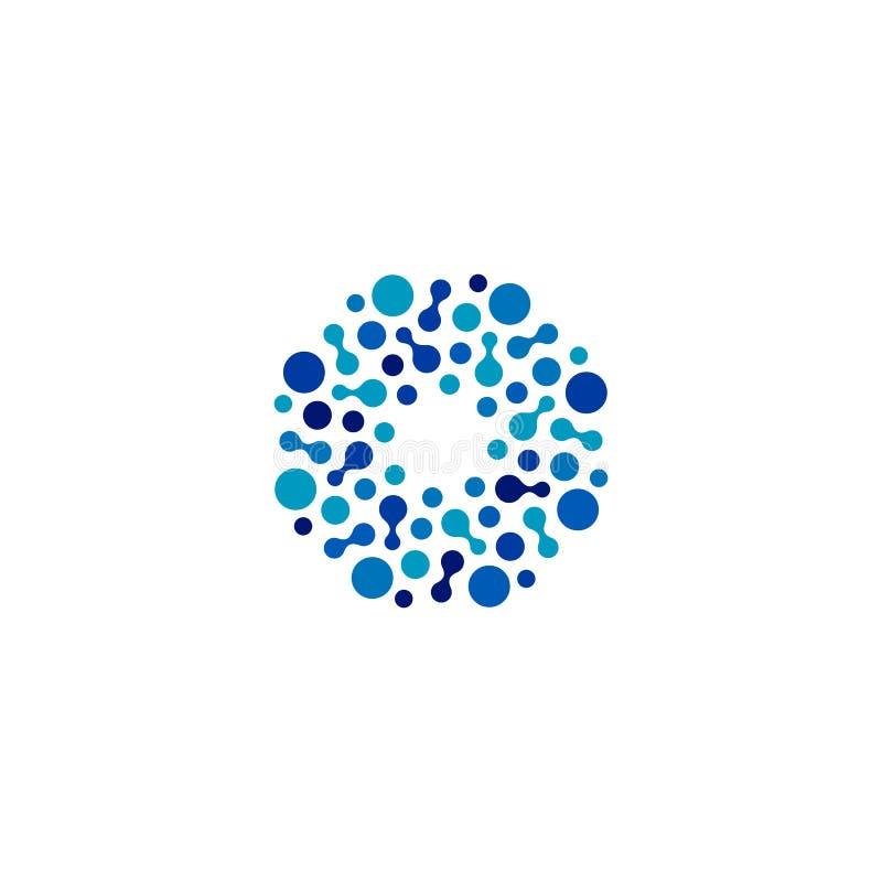 Isolerade abstrakta blått för rund form färgar logoen, den prickiga logotypen, illustration för vattenbeståndsdelvektor på vit ba vektor illustrationer
