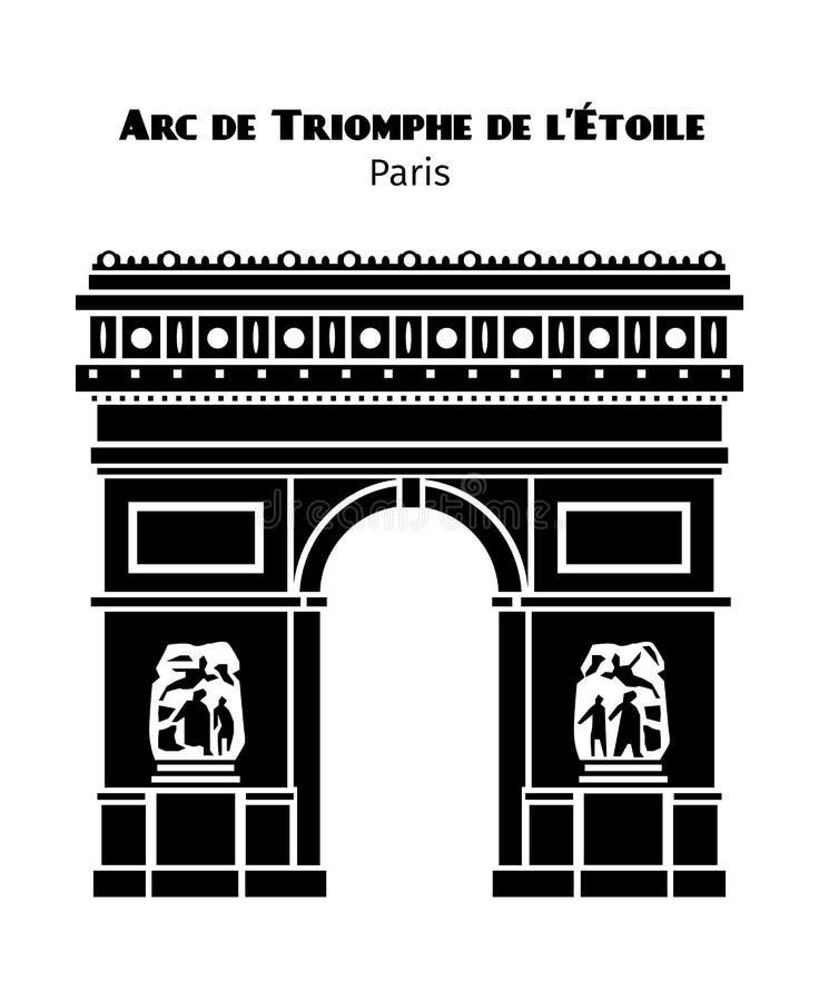 Isolerade Arc de Triomphe i Paris vektorsvart royaltyfri illustrationer