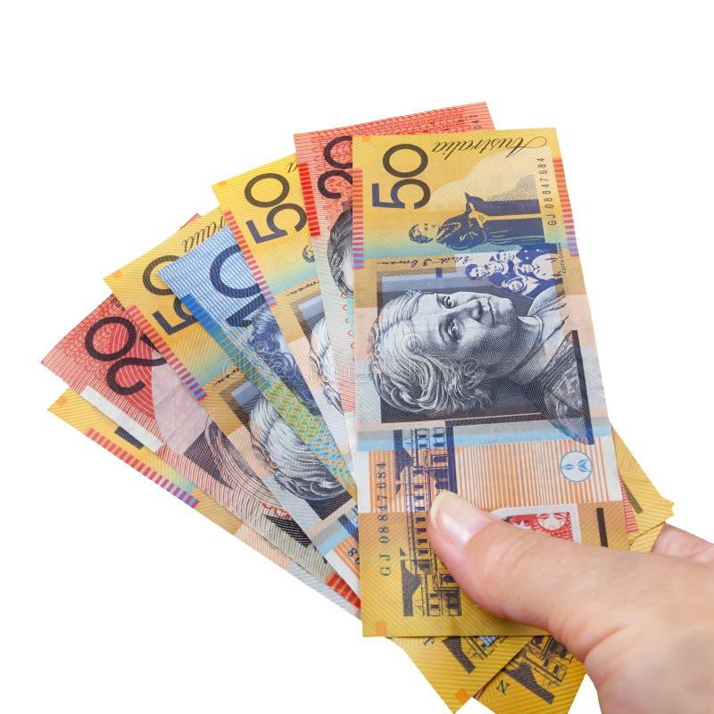 Isolerade australiska pengar för handfull royaltyfria foton