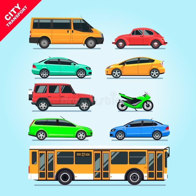Isolerade bilar för stadstransportuppsättning lägenhet, motorcykel, skåpbil, buss, taxi på blå bakgrundsillustration royaltyfri illustrationer