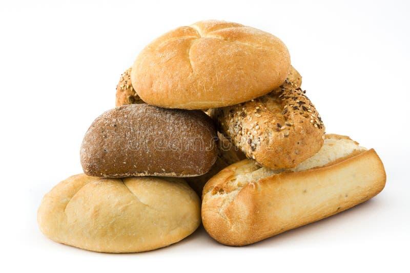 Isolerade blandade bröd arkivfoton