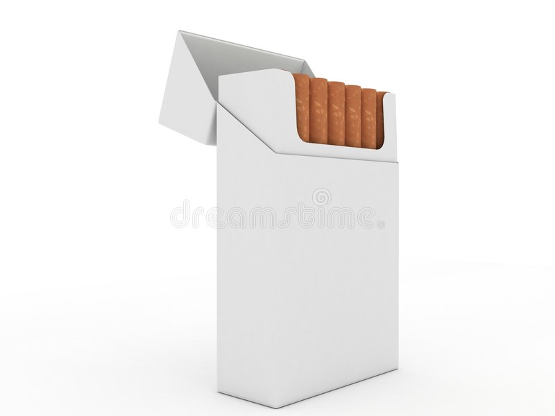 isolerade cigaretter öppnar packewhite stock illustrationer