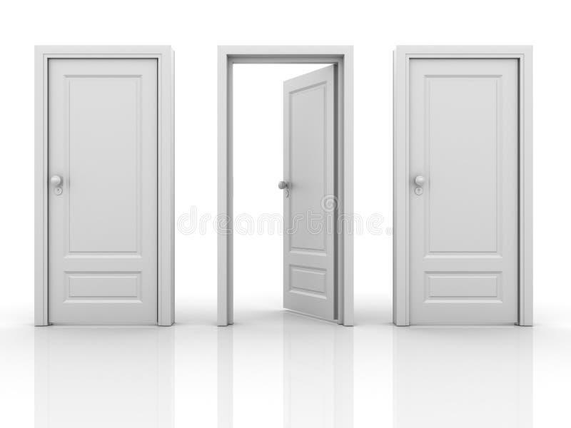 Isolerade dörrar stock illustrationer