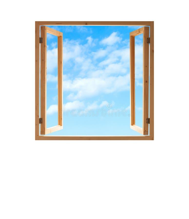 Isolerade den öppna sikten för träramhimmel för fönstret vit royaltyfria foton