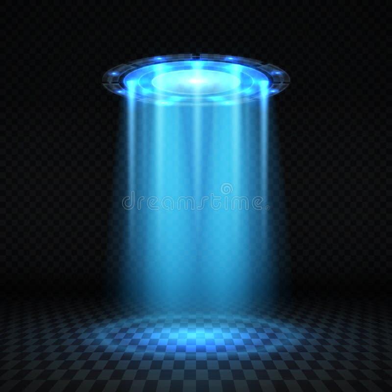 Isolerade den blåa ljusa strålen för Ufo, det futuristiska främmande rymdskeppet vektorillustrationen stock illustrationer