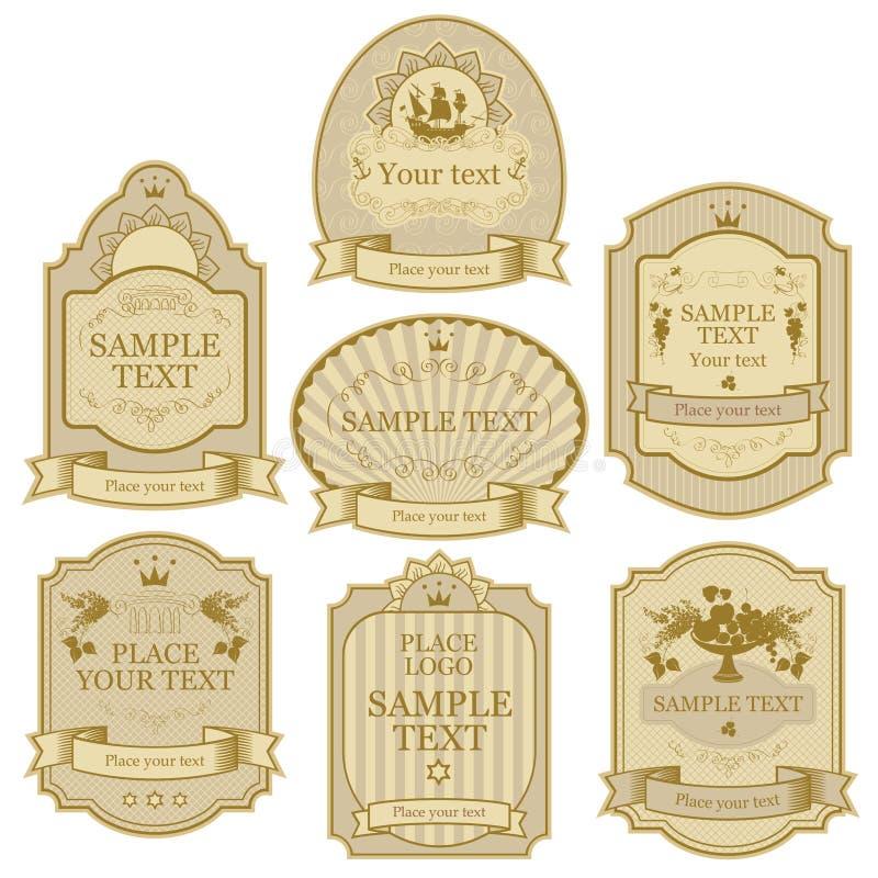isolerade den bronze guldillustrationen för bakgrund white för vektor för silver för etikettset stock illustrationer