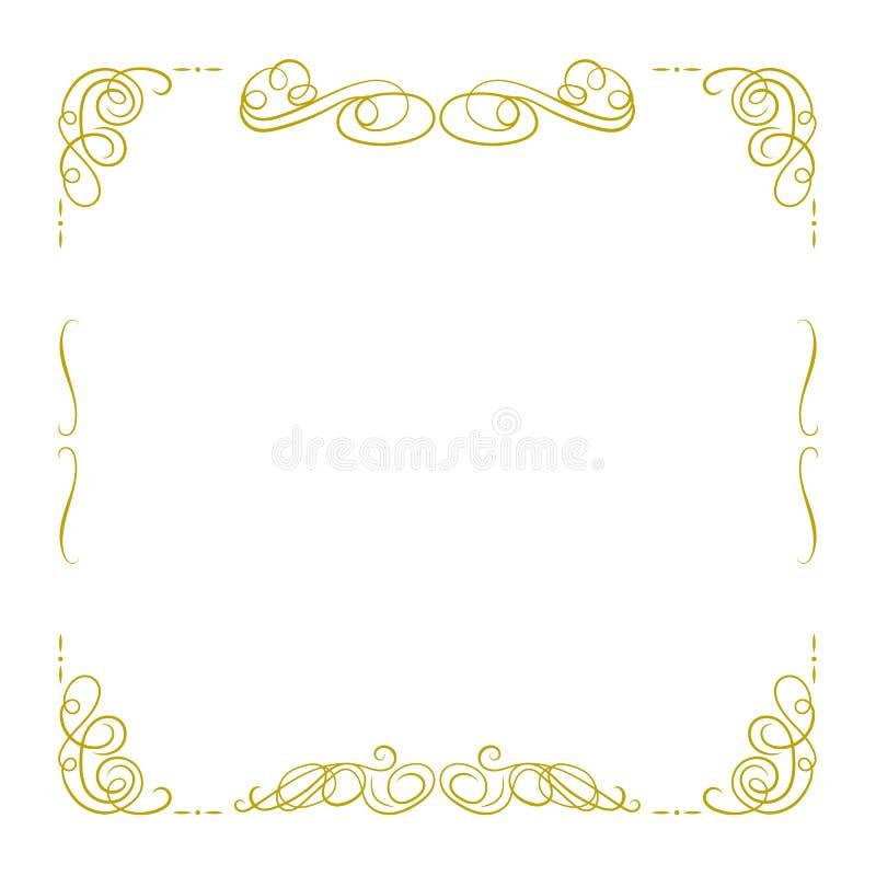 Isolerade den guld- Calligraphic ramen för vektorn, den fyrkantiga gränsmallen för filigranen, tappningstil, designbeståndsdel vektor illustrationer
