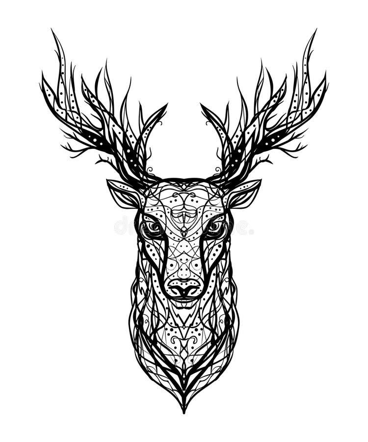 Isolerade den linjära färgpulverlogoen för den svartvita vektorn huvudet av en hjortnolla vektor illustrationer